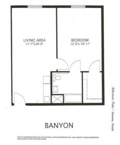 Alderman Oaks Floor Plan-Banyon 1 BR