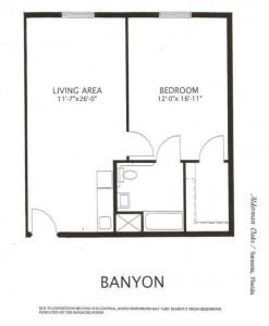 Alderman Oaks Floor Plan-Banyon 1 BR