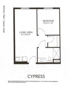 Alderman Oaks Floor Plan-Cypress 1 BR